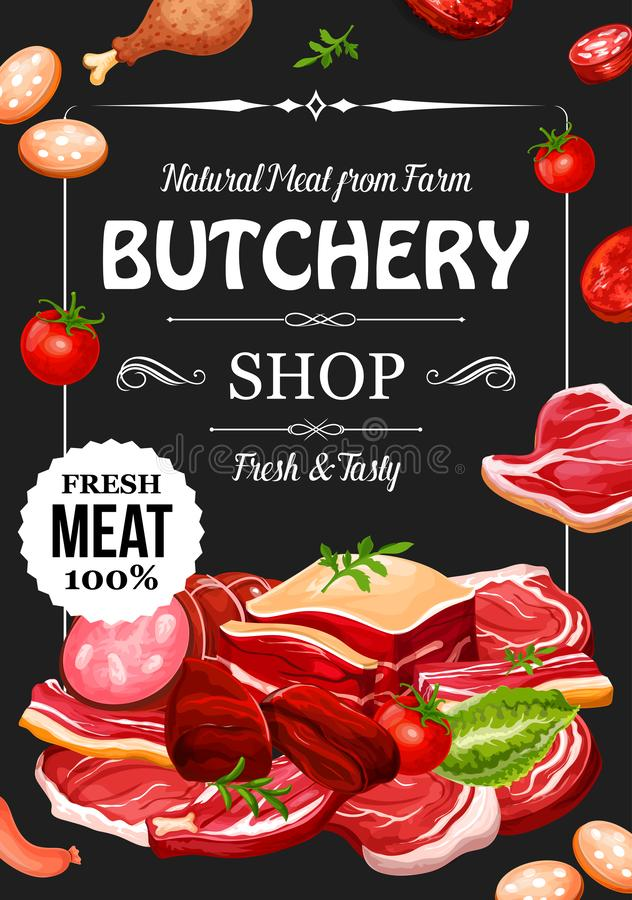 Butchery shop, meat and sausage, seasonings. Meat products and sausages with seasonings, butchery shop. Vector beef raw filet and steak, pork bacon and vector illustration