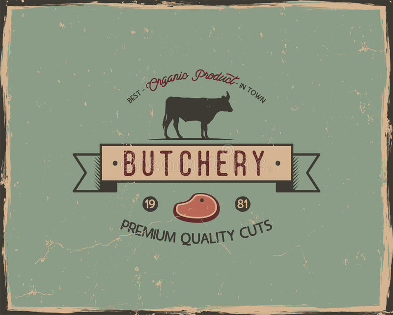 Butchery sklepowej typografii plakatowy szablon w retro starym stylu Odsadzka i letterpress projekt Listowa prasowa etykietka, em ilustracji