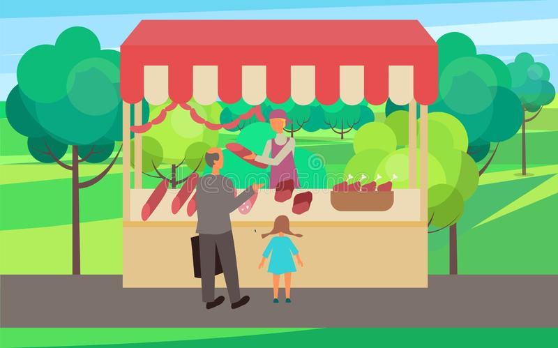 Butchery in Spring Fair Man with Kid Buyers Market. Grandfather with grandchild buying meat from butchery vector. Spring or summer fair in forest with trees and royalty free illustration