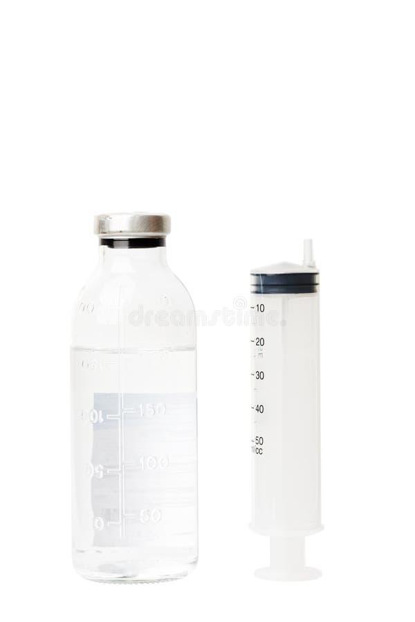Buteleczka medycyna i strzykawka fotografia stock
