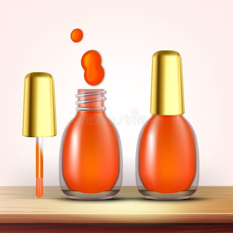 Buteleczka Pomarańczowy gwoździa połysku Żeński Kosmetyczny wektor ilustracja wektor