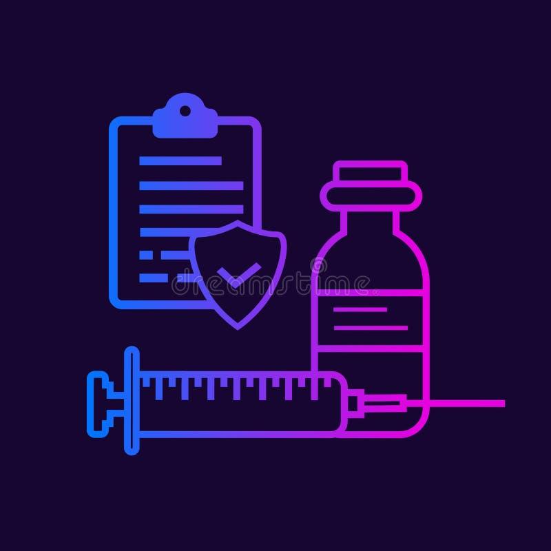 Buteleczka, strzykawka i raport, ilustracji