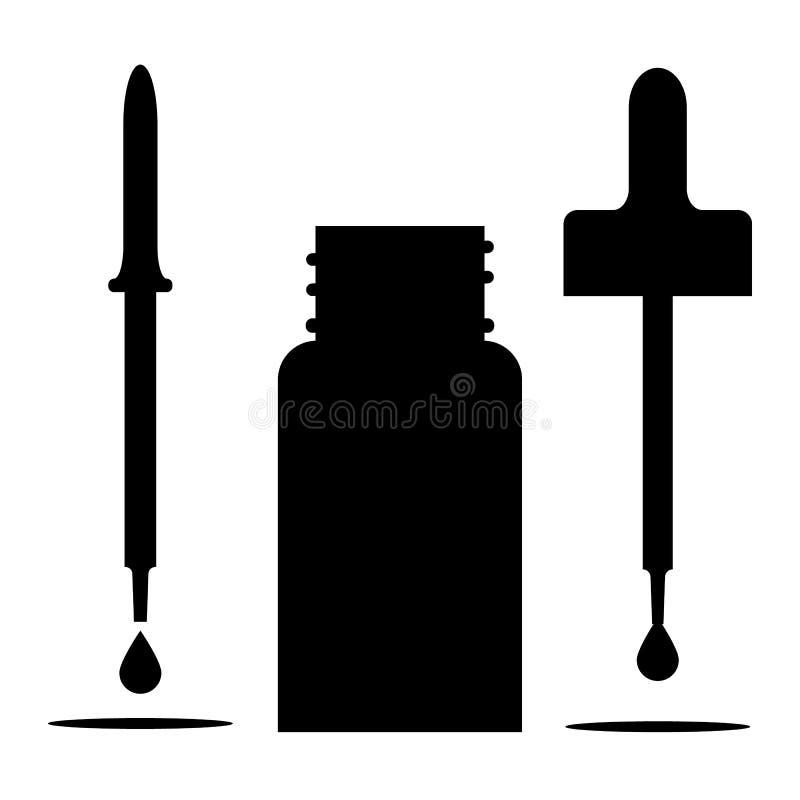 Buteleczki sylwetka z plastikowe pipety, otwarty dekiel i spada kropla z cieniem, royalty ilustracja