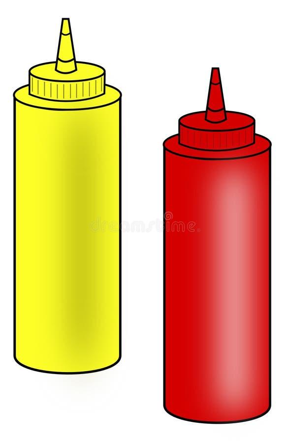 butelek ketchupu musztardy ściśnięcie ilustracji