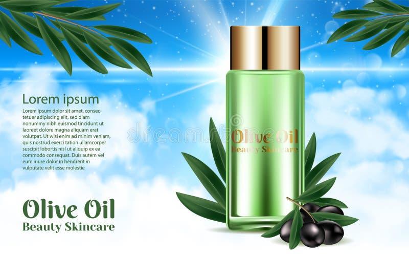 Butelek Kosmetycznych Organics skóry Naturalna opieka czarny gałęziasty oliwny realistyczny Projekta plakata sztandary Olśniewają ilustracja wektor