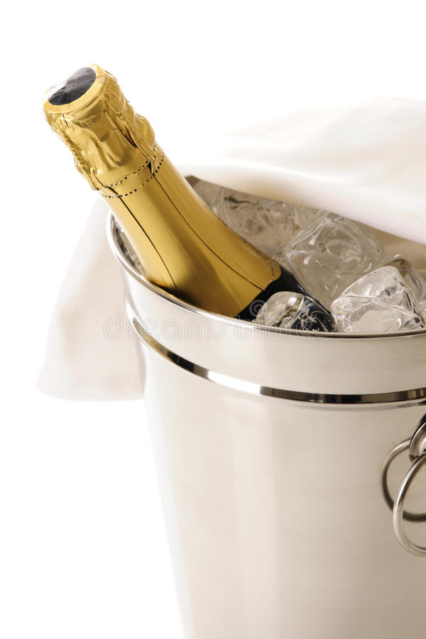 Buteljera av champagne i kylare royaltyfri foto