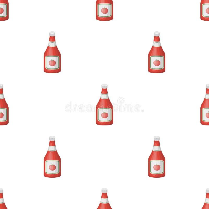 Buteljera av ketchup Lagerför den enkla symbolen för hamburgare och för ingredienser i symbol för tecknad filmstilvektor illustra stock illustrationer
