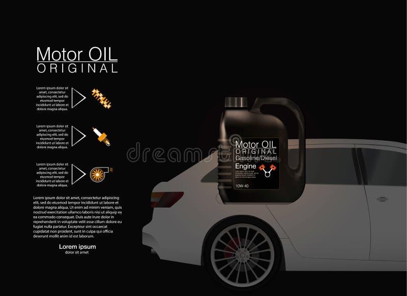 Buteljera bakgrund för motorolja, mot bakgrunden av bilen royaltyfri illustrationer