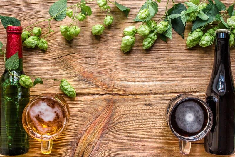 Buteljera och ett exponeringsglas av ljust och mörkt öl med flygturer och kopiera utrymmeområde på träbakgrund Top beskådar arkivbild