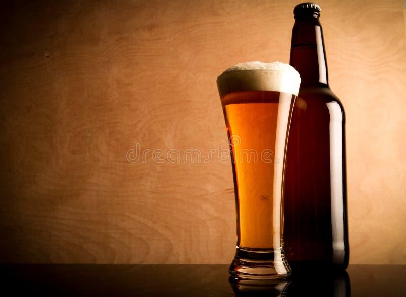 Buteljera och exponeringsglas med öl arkivbild