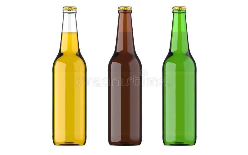Buteljerad ölguling, gräsplan och browncolors eller dryck eller kolsyrade drinkar Studion 3D framför, isolerat på vit stock illustrationer