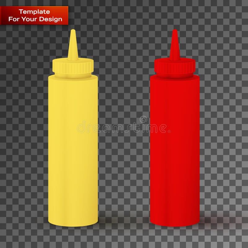 Buteljerar av Ketchup och senap stock illustrationer