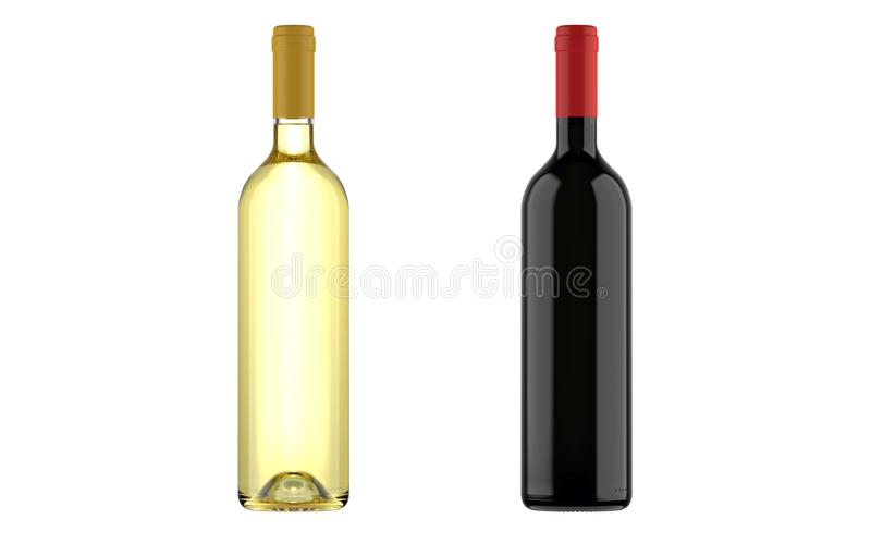 Buteljerar av vit och rött vin royaltyfri illustrationer