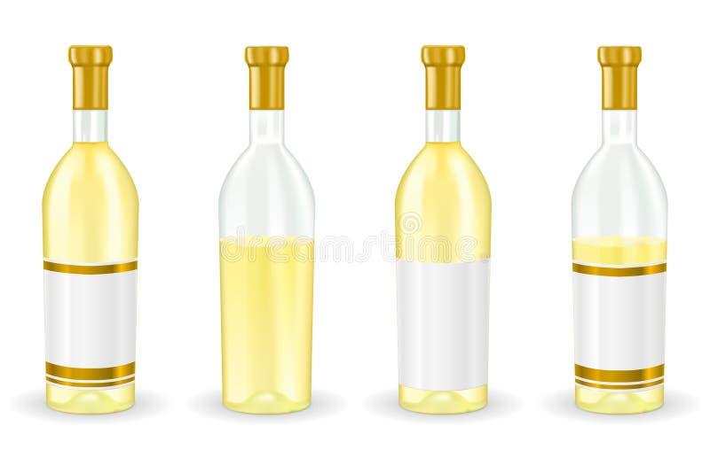 butelkę białego wina Kolekcja ilustracja wektor