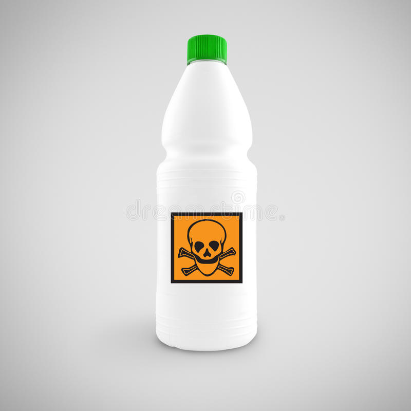 Butelka chemiczny ciecz z zagrożenie symbolem obraz stock
