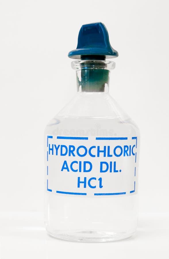 Butelka chlorowodorowy kwas obrazy stock