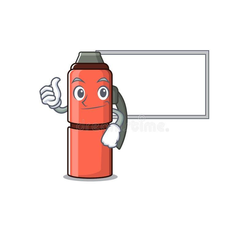Butelka Cute thermos Przewiń postać z kreskówki Kciuki w górę z płytą główną ilustracja wektor