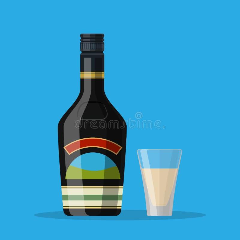 Butelka czekoladowy kawowej śmietanki trunek ilustracja wektor