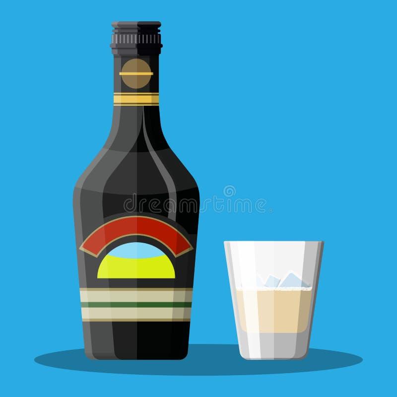 Butelka czekoladowy kawowej śmietanki trunek i szkło ilustracja wektor