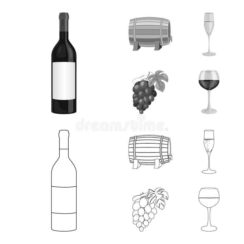 Butelka czerwone wino, wino baryłka, szkło szampan, wiązka Wino produkci ustalone inkasowe ikony w konturze ilustracja wektor