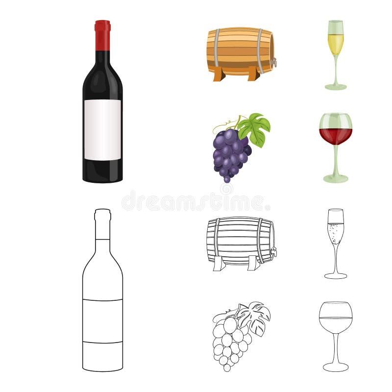 Butelka czerwone wino, wino baryłka, szkło szampan, wiązka Wino produkci ustalone inkasowe ikony w kreskówce ilustracja wektor
