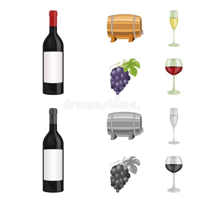 Butelka czerwone wino, wino baryłka, szkło szampan, wiązka Wino produkci ustalone inkasowe ikony w kreskówce ilustracji