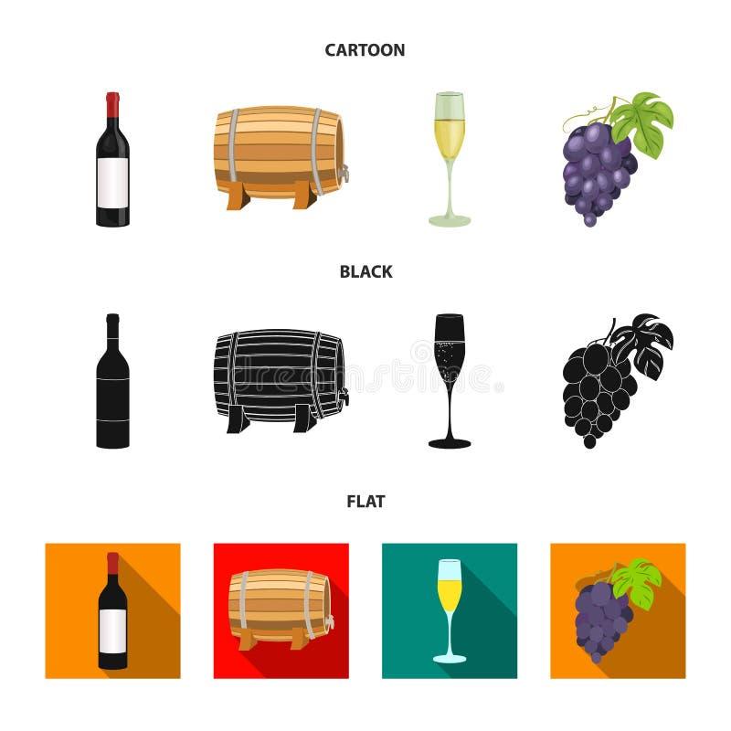 Butelka czerwone wino, wino baryłka, szkło szampan, wiązka Wino produkci ustalone inkasowe ikony w kreskówce royalty ilustracja