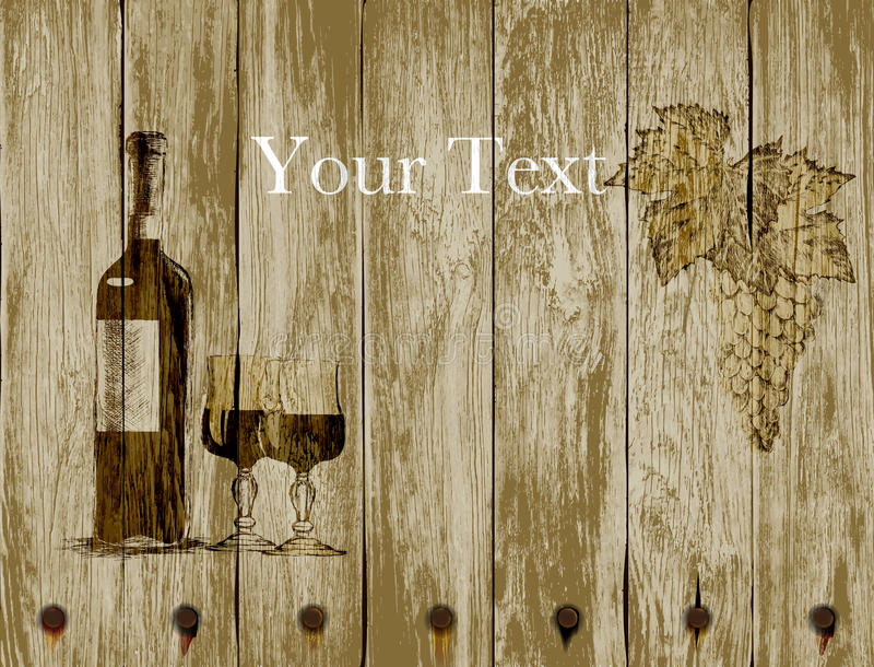 Butelka czerwonych win winogrona na drewnianym tle i szkła ręka patroszona royalty ilustracja
