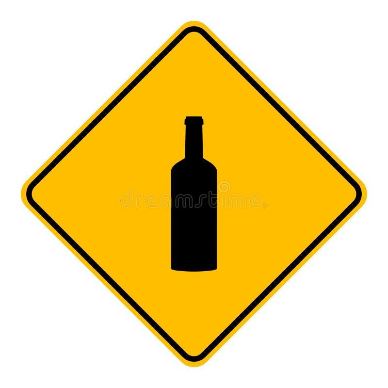 Butelka i drogowy znak ilustracji
