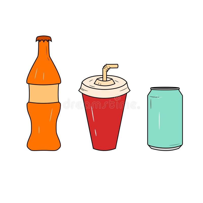 Butelka i szkło sodowany ikona set Szkło sok i butelka z sodowanym logo Wektor kreskowe ikony royalty ilustracja