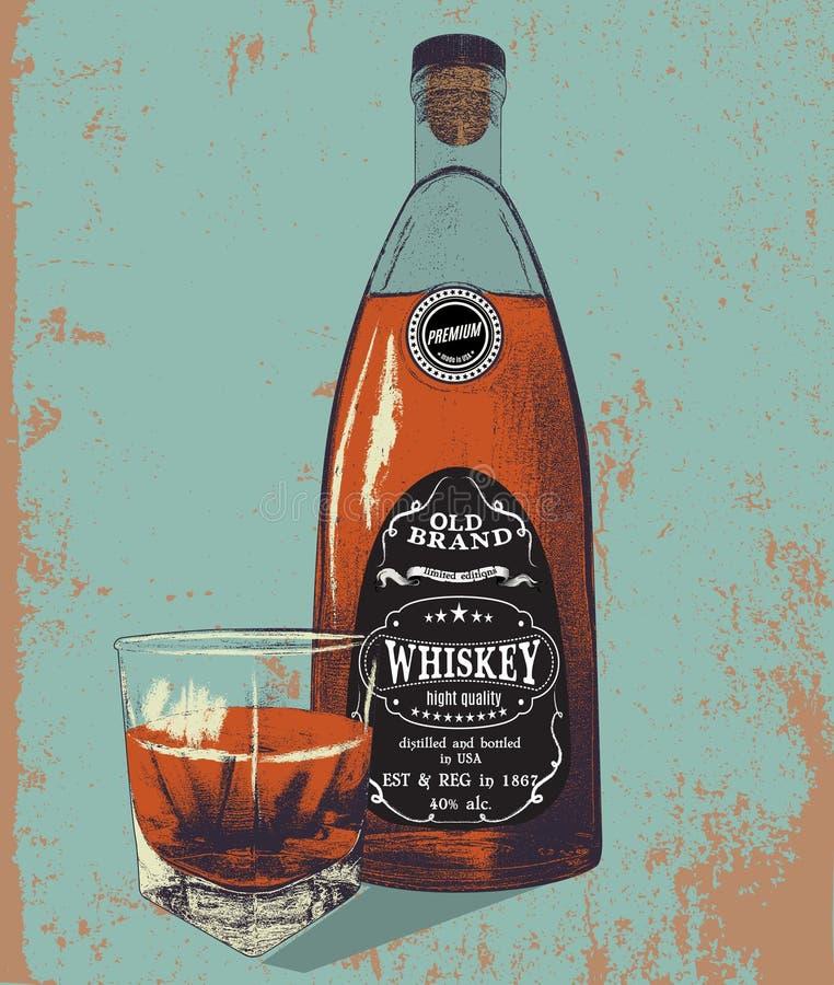 Butelka i szkło whisky na grunge ilustracja wektor