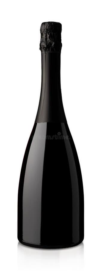 Butelka iskrzasty wino na białym tle zdjęcia stock