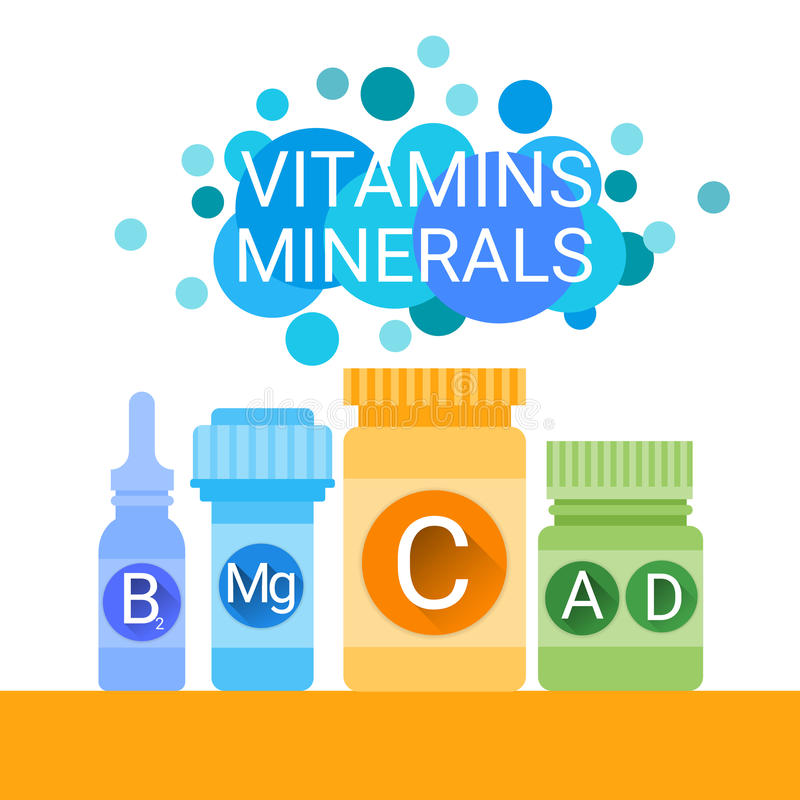Butelka Istotne Chemicznych elementów odżywki kopalin witaminy royalty ilustracja