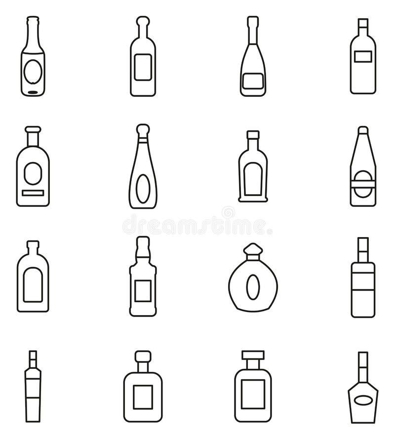 Butelka lub ikony Szklanej butelki lub Liquer butelki Cieniejemy Kreskowego Wektorowego ilustracja set ilustracja wektor