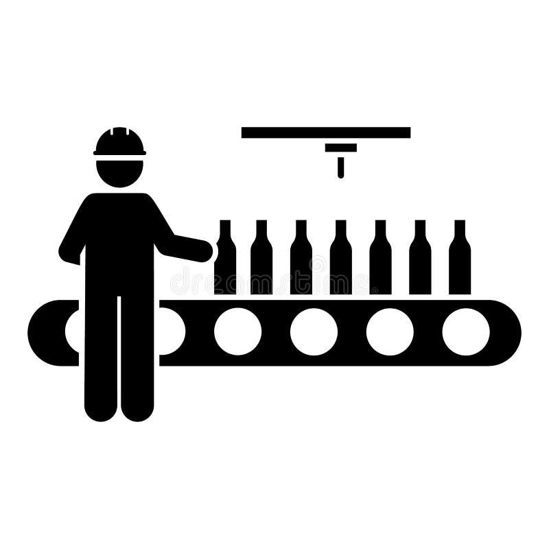Butelka, manufaktura, maszyny, przemysł, mężczyzna ikona Element r?kodzielnicza ikona Premii ilo?ci graficznego projekta ikona zn ilustracja wektor