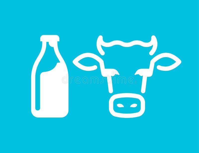 Butelka mleka i krowy ` s przewodzi ikony ilustracja wektor