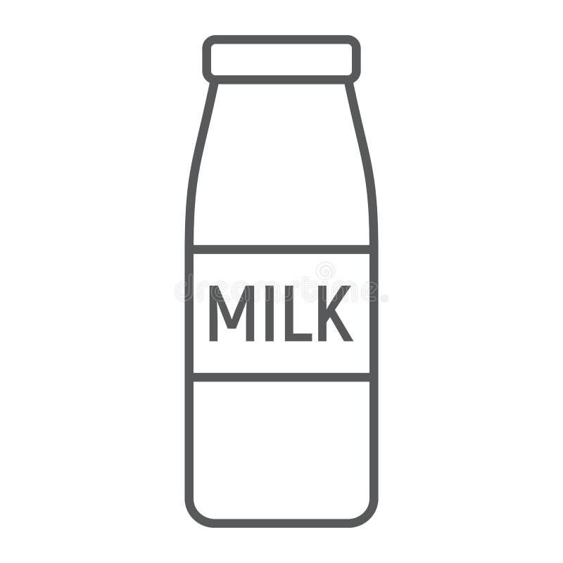 Butelka mleko cienka kreskowa ikona, napój i jedzenie, royalty ilustracja