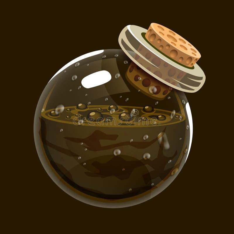 Butelka mudGame ikona magiczny eliksir Interfejs dla rpg lub match3 gry Ziemia lub błoto royalty ilustracja