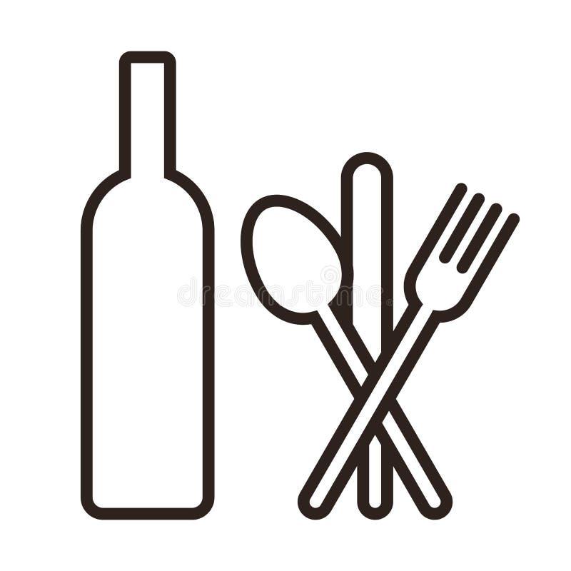 Butelka, nóż, łyżka i rozwidlenie, royalty ilustracja