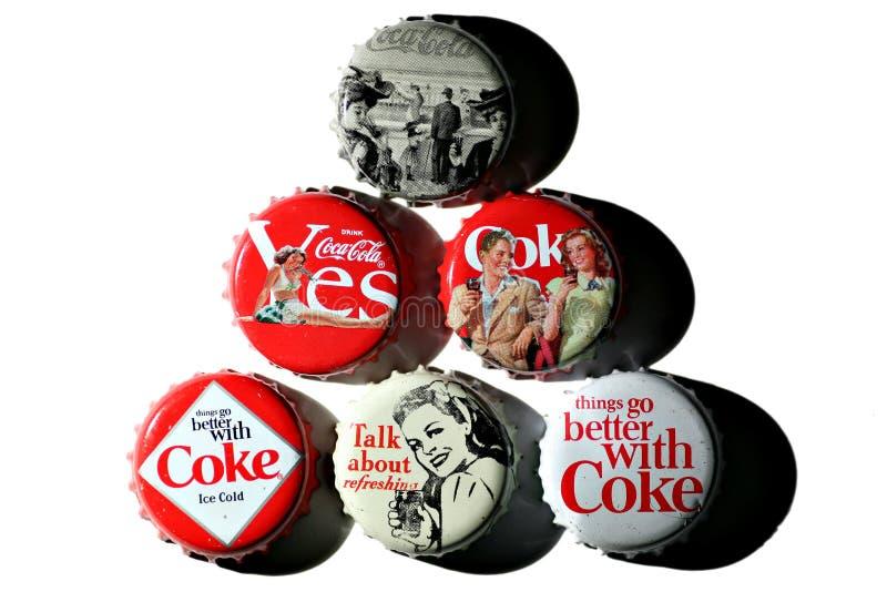 butelka nakrywa koka-kola rocznika obrazy stock