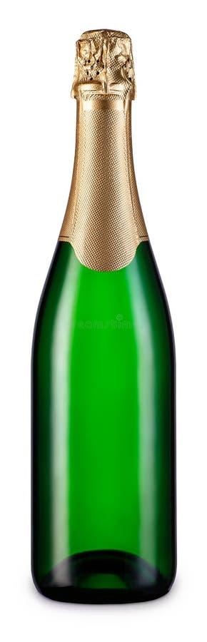 Butelka odizolowywająca na bielu szampan obrazy royalty free
