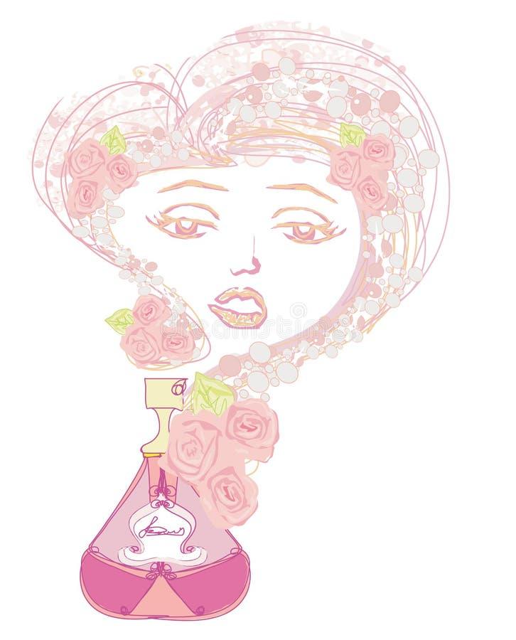 Butelka pachnidło z kwiecistym aromatem ilustracji