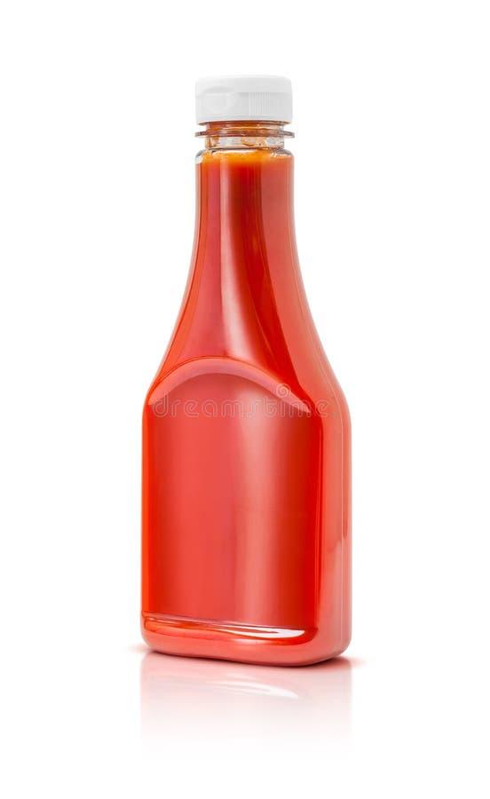 Butelka pomidorowego kumberlandu ketchup na białym tle obraz stock