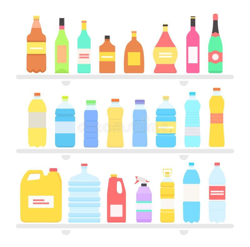 Butelka projekta mieszkania Ustalony olej i napój royalty ilustracja