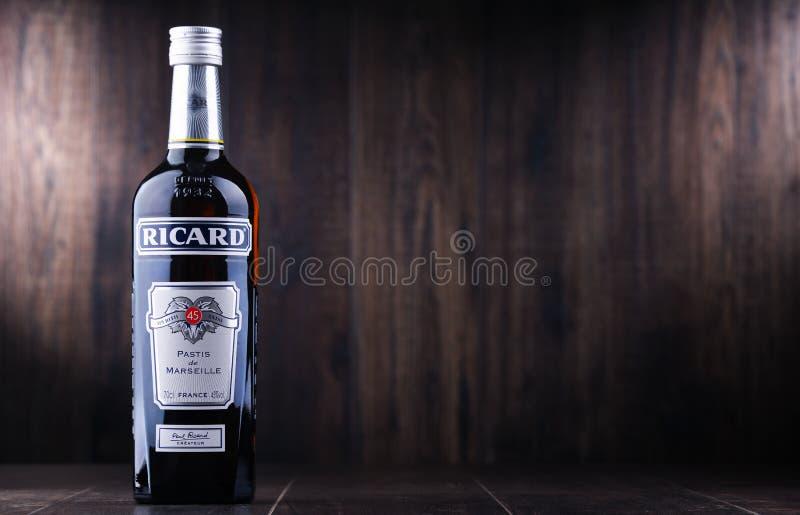 Butelka Ricard, pastis aperitif zdjęcie royalty free