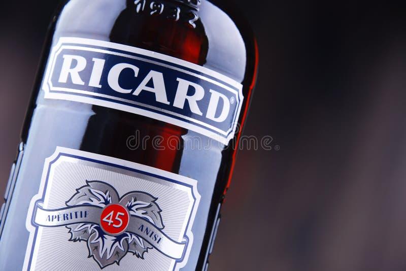 Butelka Ricard, pastis aperitif obraz stock