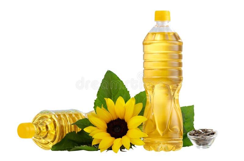 Butelka słonecznikowy olej na stole zdjęcie stock