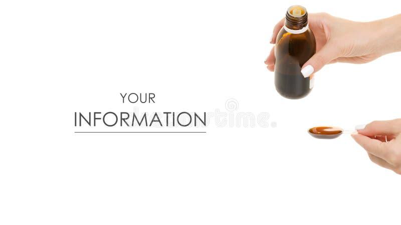 Butelka syrop w ręki medycyny wzorze obraz royalty free