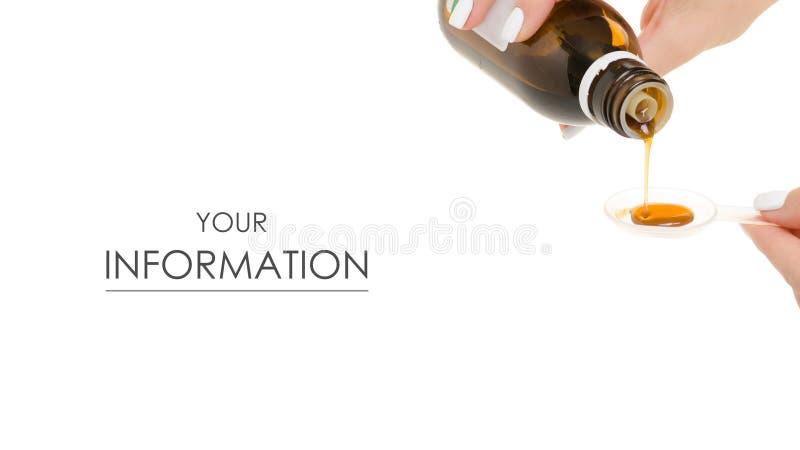 Butelka syrop w ręki medycyny wzorze zdjęcia stock