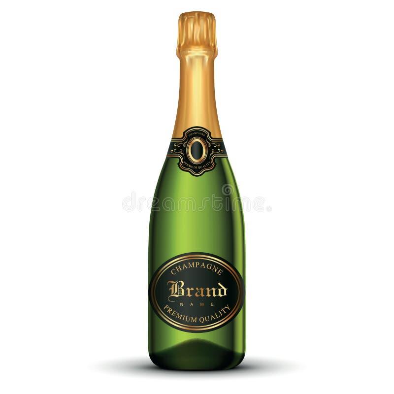 butelka szampana pojedynczy white obrazy stock